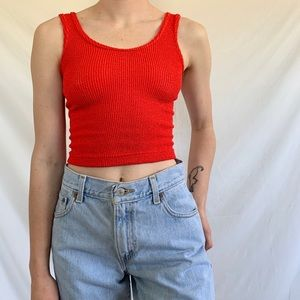 Vintage 80s Red Ribbed Stretchy Tank Top Crop Top